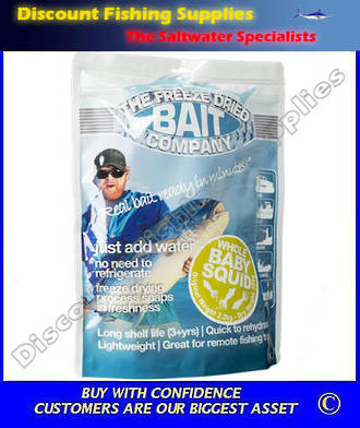 Freeze Dried Whole Baby Squid Bait 300gr (Original Weight 2.2kg)