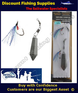 Jarvis Walker Twin Hook Flasher Rig with Sinker 2/0 Blue/Pearl