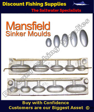 Sinker Mould - Bean Sinker 3/4,1, 1.5,2 & 2.5oz