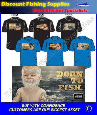 "Okuma ""BORN TO FISH"" Tee Shirt - White Baby Large"