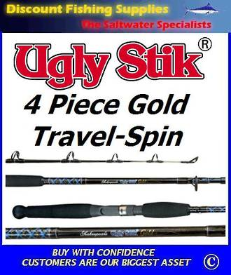 Shakespeare UGLY STIK Gold Travel Spin Rod 7' 4pc 5-10kg