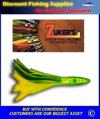 """Zuker's 6"""" -  Feather Trolling Lure - ZF1 Green/Yellow"""
