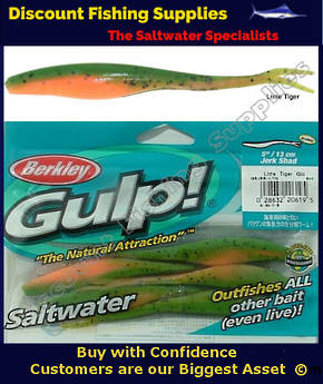 "Gulp 5"" Jerk Shad - Lime Tiger Glo"