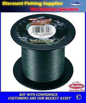 Berkley Whiplash Super Braid - 65lb X 2200yds BULK SPOOL Green