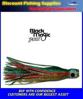 Black Magic Medium Devil Lure - Green Gold Red stripe over Blue Silver