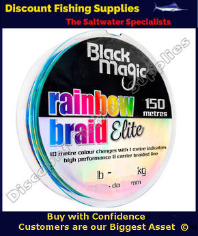Black Magic RAINBOW BRAID ELITE 16LB X 150m