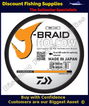 Daiwa J Braid Hollowcore 100lb X 3000m - Hi-Vis