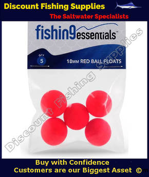 Fishing Essentials 18mm Red Ball Float (5 pack)