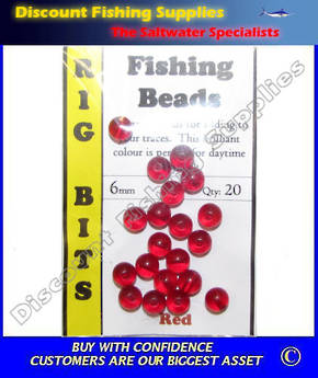Fishing Beads Red 6mm