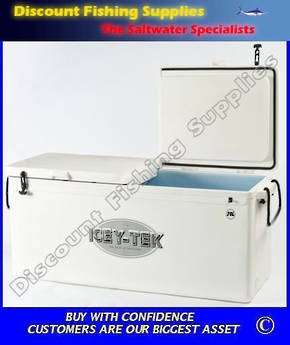 ICEY-TEK 90ltre LONG Style Split Lid Chilly Bin WHITE