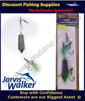 Jarvis Walker Twin Hook Flasher Rig with Sinker 7/0 Chartreuse