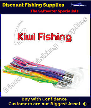 Kiwi Tuna Jet Lure Rigged - Green - Yellow - Orange
