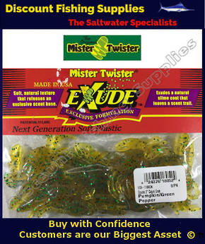 "Mister Twister Exude Cajun Crab 2"" Pumpkin Green Pepper"