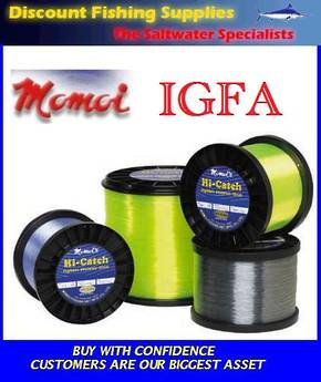 Momoi Hi-Catch Nylon Mono-Line 24kg X 1000m Light Blue (IGFA)