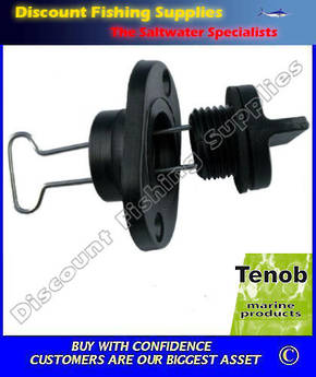 "Tenob 1"" Fine Thread Drain Plug & Base (Black)"