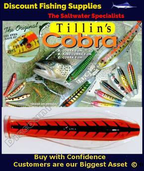 Tillins Cobra Wobbler Lure 19g 3inch Colour 100 with Hook and Bead