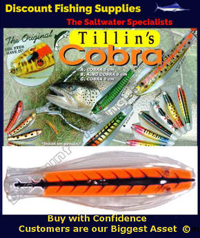 Tillins Cobra Wobbler Lure 19g 3inch Colour 105 with Hook and Bead