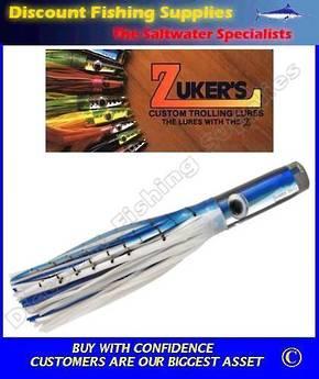 """Zuker 13"""" - Vinyl Skirt Marlin Lure - ZM5.5 Blue White Mackerel"""