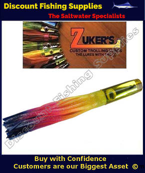 "Zuker 13"" - Vinyl Skirt Marlin Lure - ZM5.5 Rainbow-Yellow"