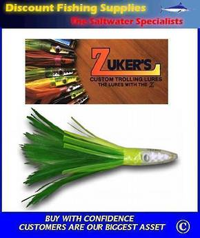 "Zuker's 6"" -  Feather Trolling Lure - ZF10 Green/White"