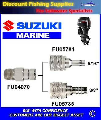 "Suzuki female connector. Large. For 3/8"" hose. Scepter/Moeller brand"
