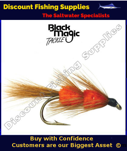 Black magic red setter light tail 6 trout flies fly for Wholesale fishing tackle outlet