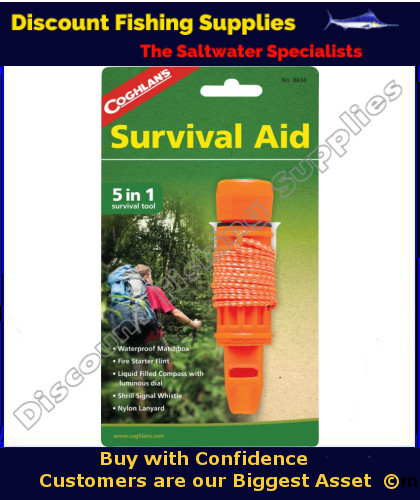 Coghlans Survival Aid 5 In 1 Whistle Survival Gear Safety Gear
