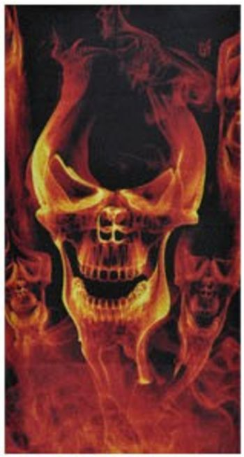 face Mask gold skull flame 1