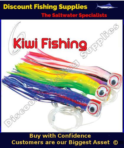 Kiwi game lure 8 rigged purple black trolling lure for Fishing supply stores