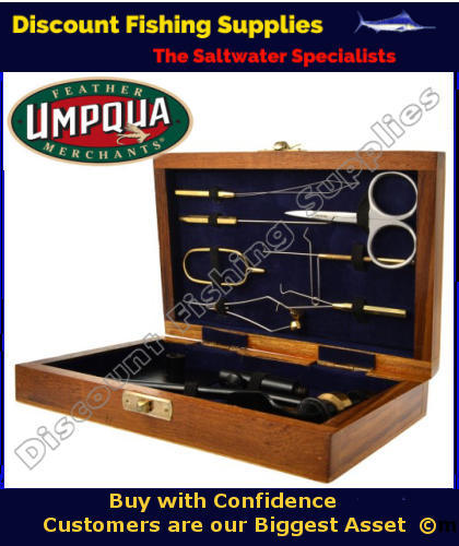 Umpqua fly tying tool kit wooden case fly tying tools for Wholesale fishing tackle outlet