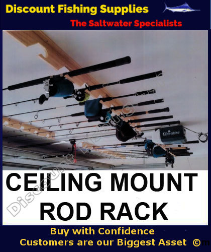 Wooden rod rack roof mounted for 6 rods rod rack for Wholesale fishing tackle outlet