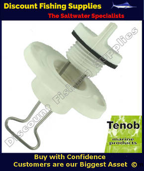 "Tenob 1"" Fine Thread Drain Plug & Base (White)"